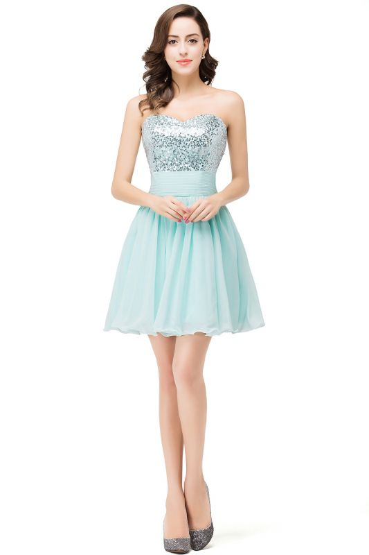 Elegant Sequins Lace-up Homecoming Dress Short Chiffon