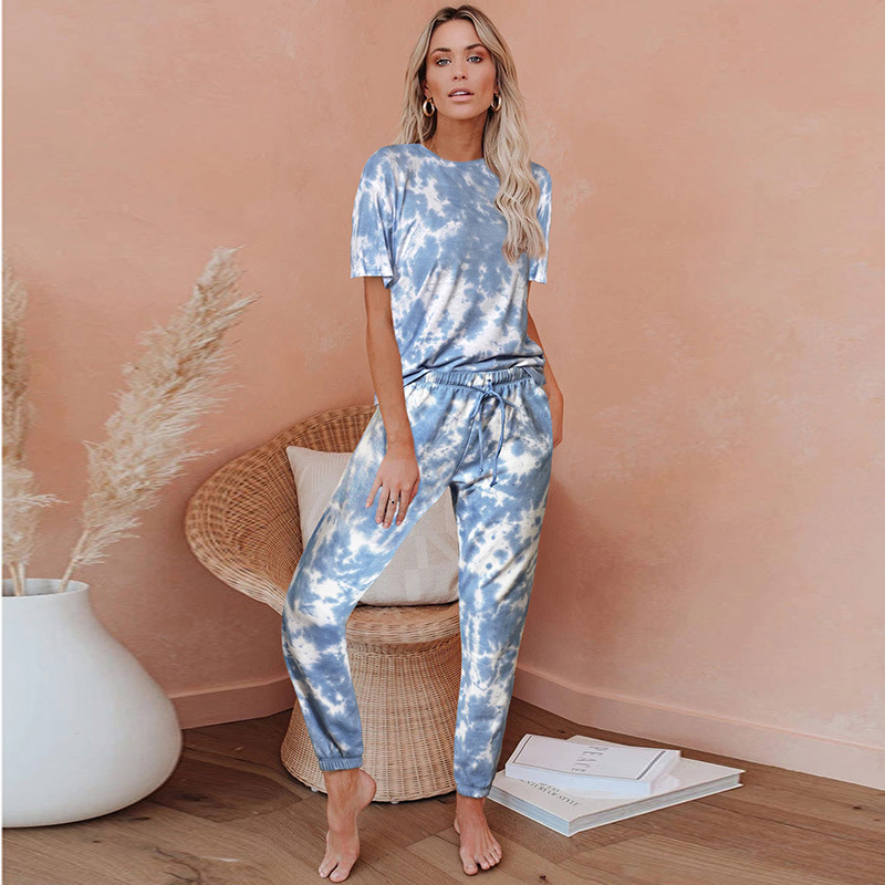 Women HomewearTie Dye Pajamas Set Short Sleeve Two Pieces Round Neck Loungewear Sleepwear
