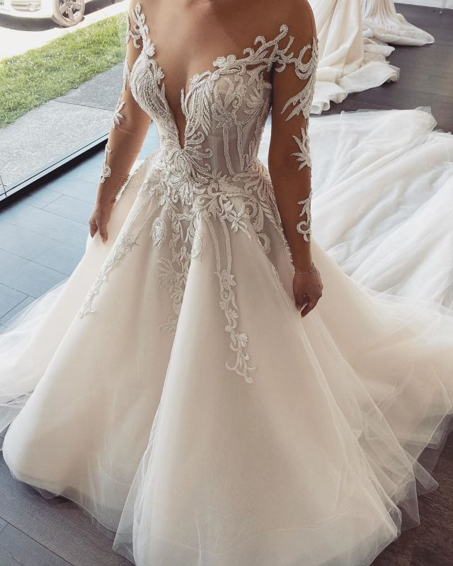 Double Deep V-Neck Long Sleeve Lace Appliques A-line Bridal Gowns