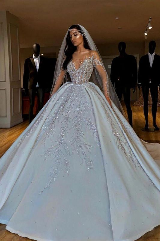 Luxury V-Neck Long Sleeve Floral Crystals A-line Ball Gown Satin Beads Bridal Gowns
