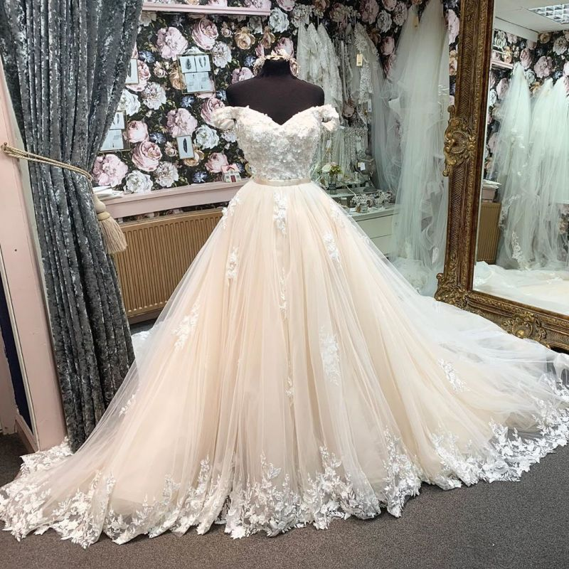 Elgant Off Shoulder Champagne Lace Appliques Tulle A-line Ball Gowns
