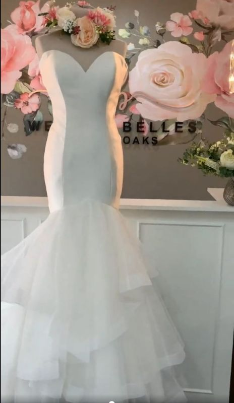 Sweetheart  Backless Organza Mermaid Layered Wedding Bridal Gowns