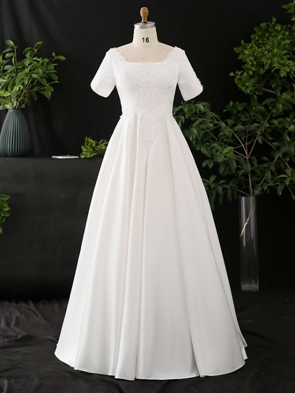 Stylish Short Sleeve Wedding Party Dress Daily Casual Dress for Women
