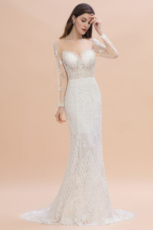 Elegant White/Ivory Tulle Lace Appliques Mermaid Bridal Gowns Long Seelve Wedding Dress