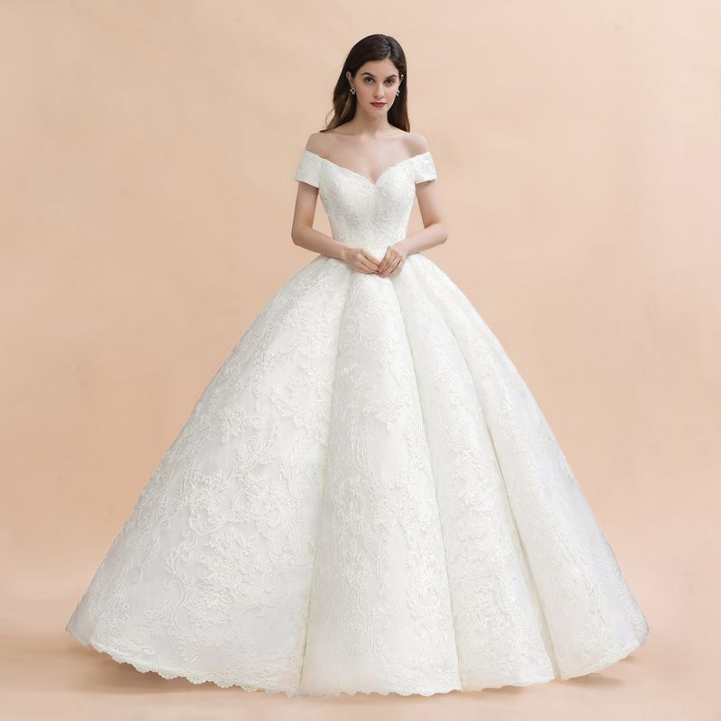 Ivory Off Shoulder Tulle Lace Appliques Ball Gown Bridal Dress