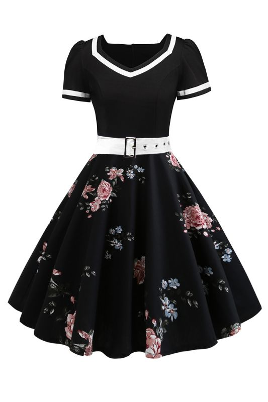 Vintage Knee Length Dress Floral Short Sleeve Cocktail Party Dress Daily Wear