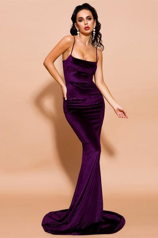 Stylish Velvet Mermaid Prom Party Dress Velvet Spaghetti Straps
