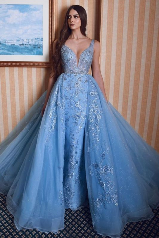 Stylish Double V-Neck Mermaid Prom Dress Lace Appliques Detachable Trains