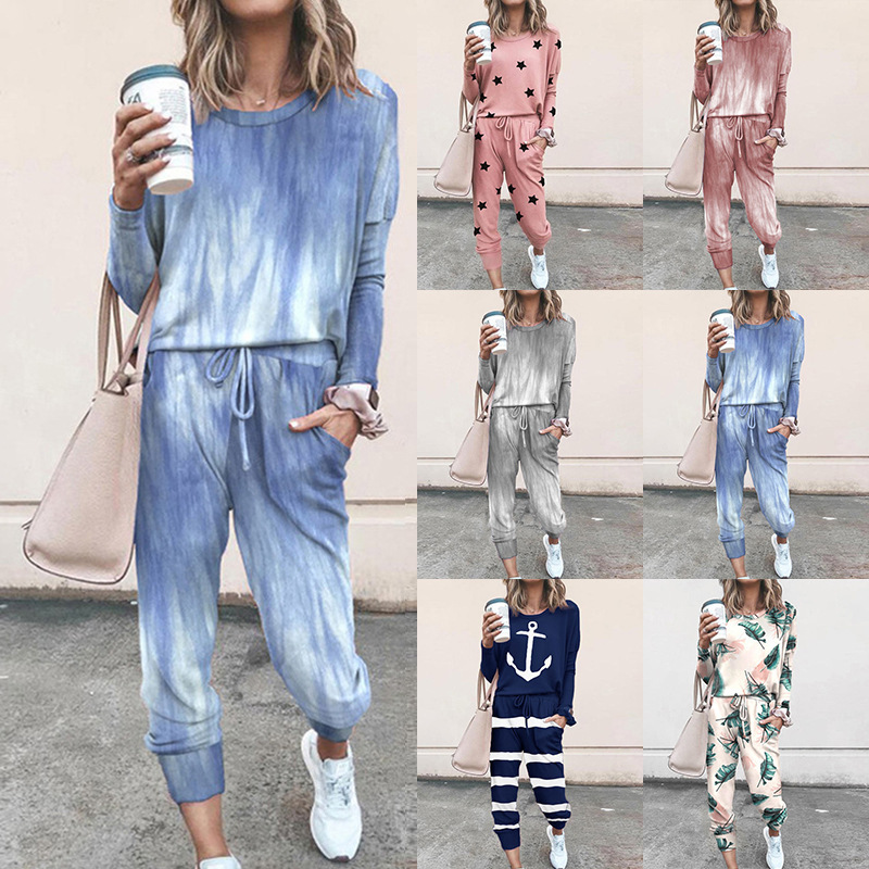 Homewear Tops and Pants Two Sets Sleepwear Long Sleeve Loungewear for Women