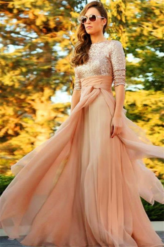 Stunning Sequins Long 2020 Evening Dress Half Sleeves Prom Gown