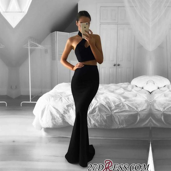 Mermaid Black Two-Piece Halter Newest Sleeveless Prom Dress BA7157