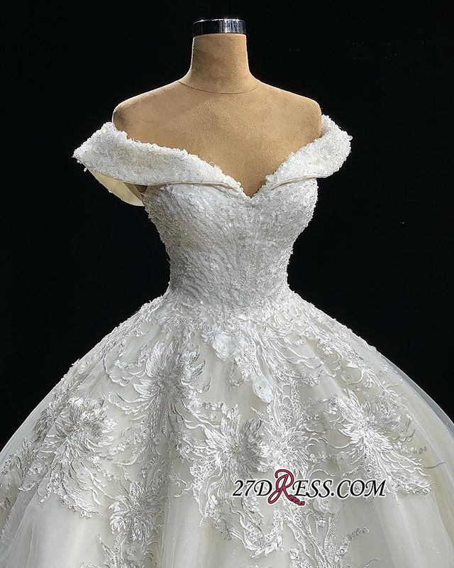 Off-the-Shoulder Charming Gown Ball Wedding Dresses