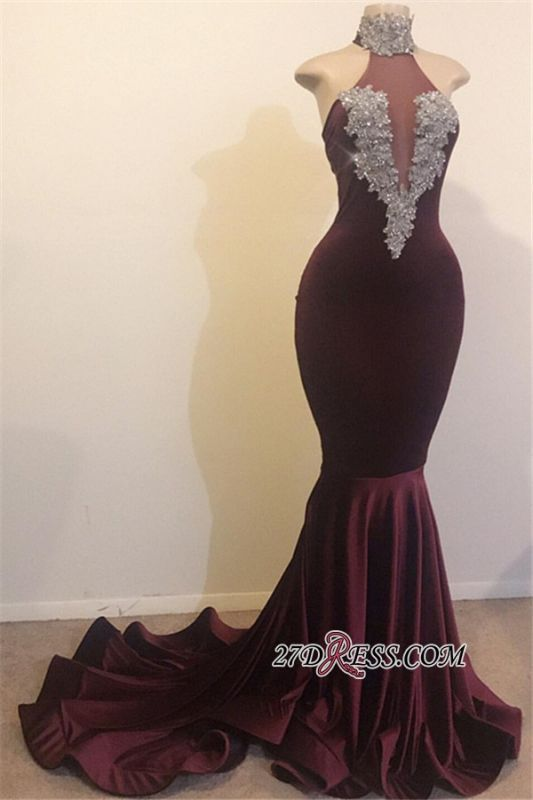 Halter Sequins Sleeveless Mermaid Prom Dresses | Sexy High Neck Appliques Evening Dresses BC1144