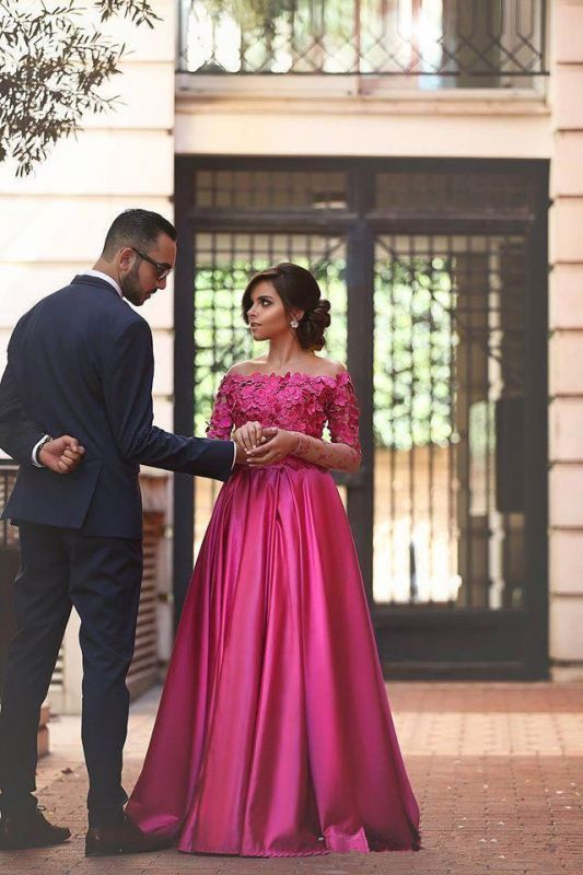 Glamorous Off-the-shoulder Long Sleeve Fuchsia Evening Dresses 2020 A-line Party Gowns