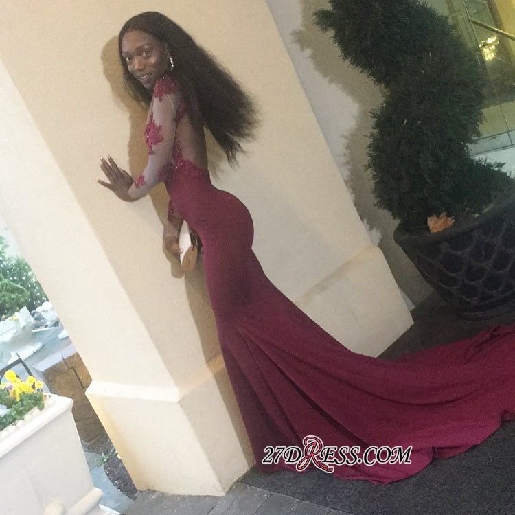 Burgundy prom dress 2020, lace evening gowns BK0
