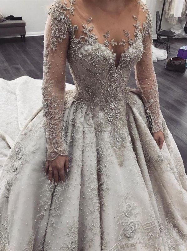Glamorous Long Sleeve Ball Gown Wedding Dress | 2020 Crystal Appliques Bridal Gowns