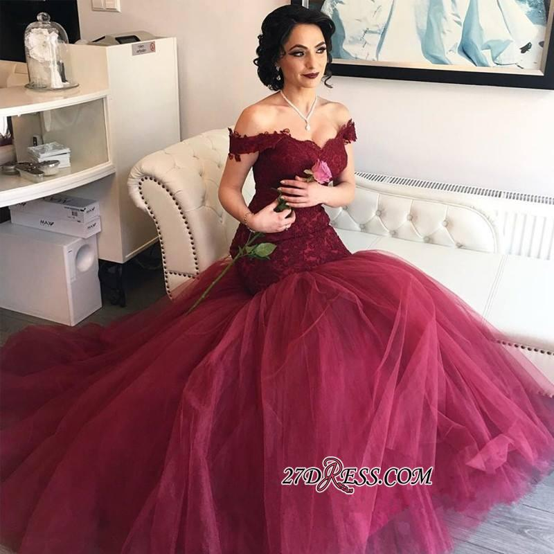 2020 Burgundy Off-the-Shoulder Tulle Lace Mermaid Newest Prom Dresses BA4286