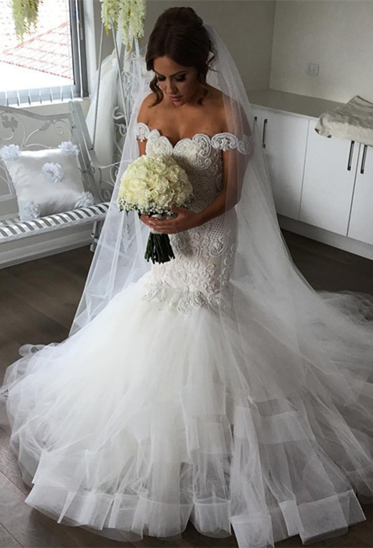 Glamorous Off-the-Shoulder Mermaid Wedding Dress | 2020 Tulle Bridal Gowns