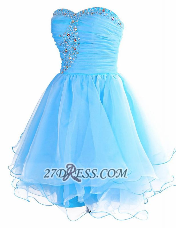 Pretty Semi-sweetheart Sleeveless Short Homecoming Dress Lace-up Crystals Organza Cocktail Gown