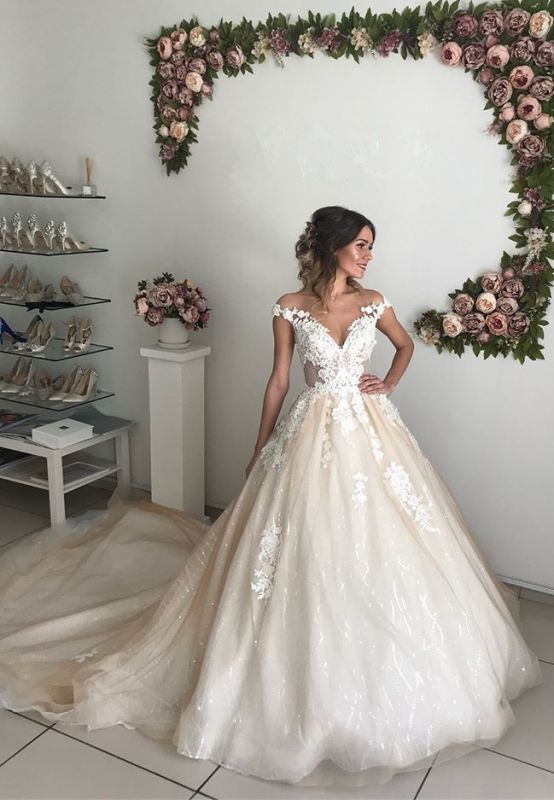 Chic Off-the-Shoulder 2020 Wedding Dresses Online | Lace Appliques Sequins Tulle Bridal Gowns