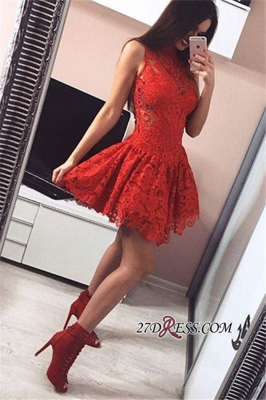 Sleeveless Cute A-line Lace Short Homecoming Dresses