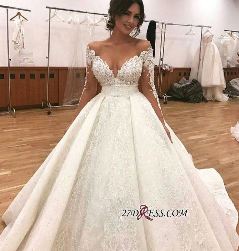 Elegant Long-Sleeve Wedding Dress | Ball-Gown Lace Bridal Gowns