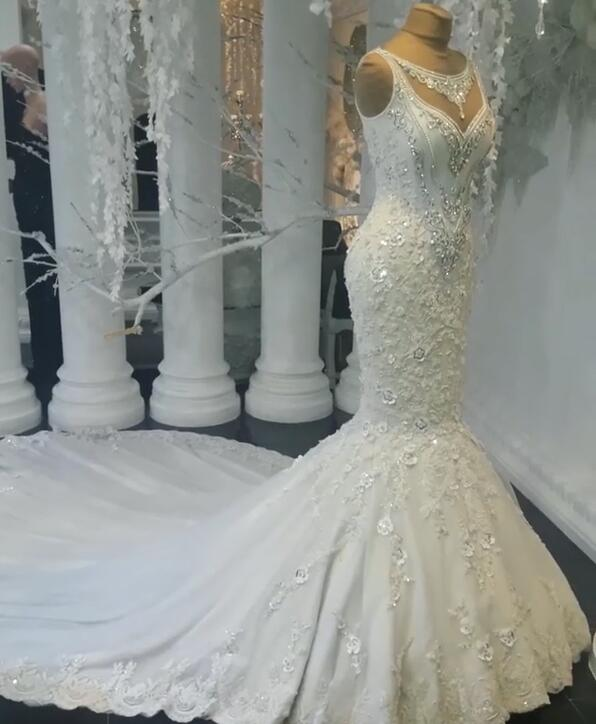 Stunning Sleeveless Crystal Wedding Dress | 2020 Mermaid Bridal Gowns On Sale BC0391