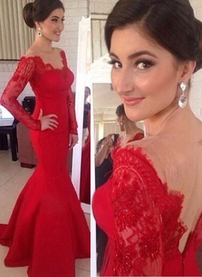 Red Sexy Long Sleeves Prom Gowns 2020 Mermaid Long Sleeve