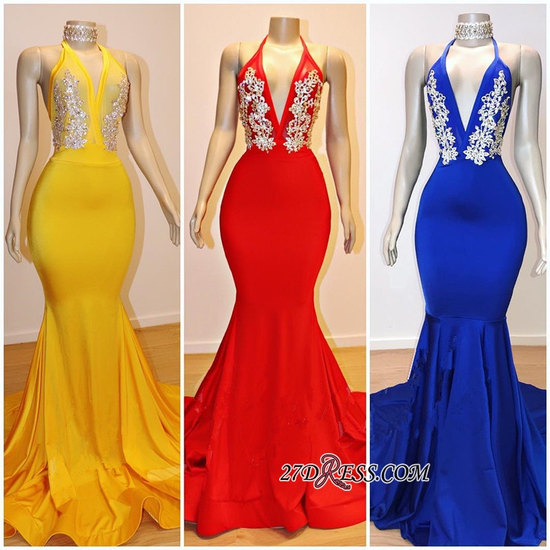 Gorgeous Halter V-Neck Prom Dresses   2020 Mermaid Long Evening Gowns On Sale BC0889