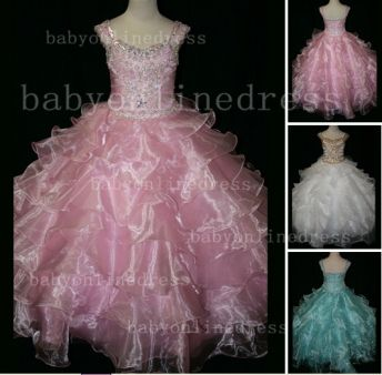 Formal Cheap Pageant Dresses for Girls with Beauty Customized 2020 Beaded Flower Girls Gowns for Sale