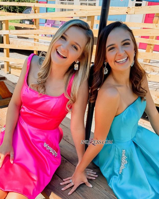 Fascinating Strapless Square A-line Beaded Homecoming Dresses
