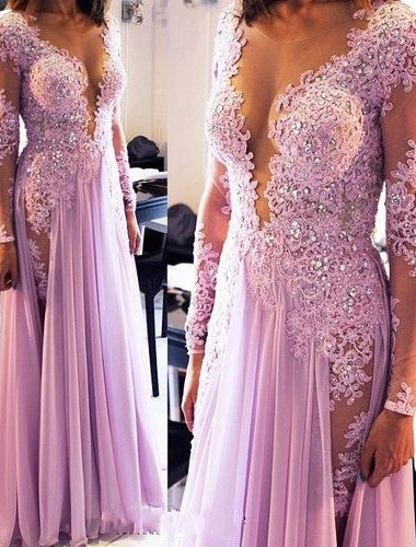 Sexy Lace Appliques Crystals 2020 Prom Dress V-neck Chiffon
