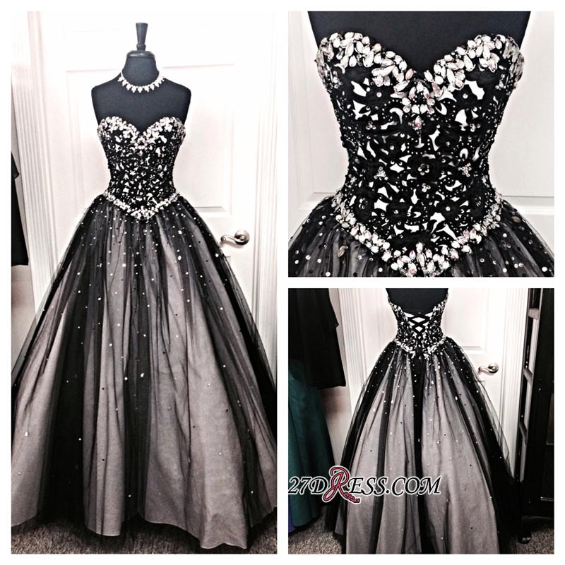 Crystal A-Line Lace-up Tulle Black Elegant Sweetheart Prom Dress BC0742