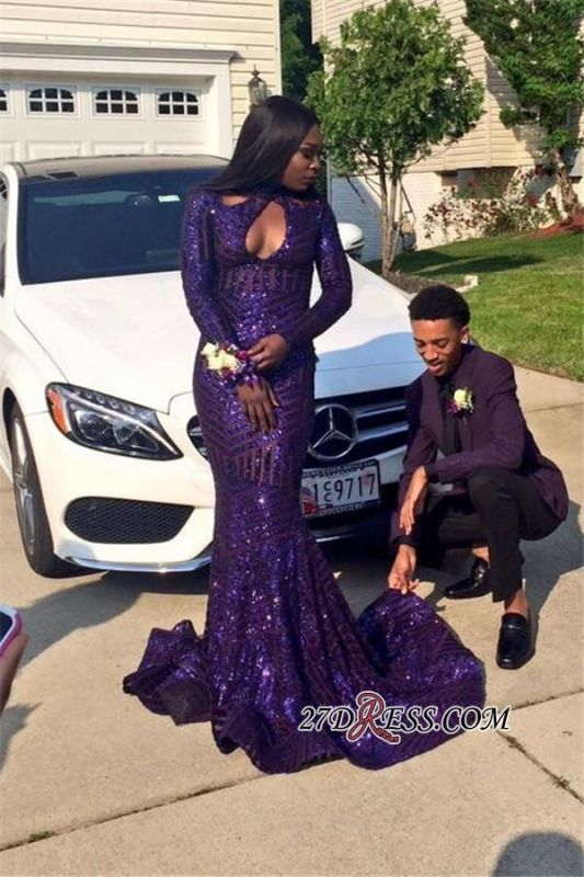 Sequined Keyhole Mermaid Sexy Long-Sleeves High-Neck 2020 Prom Dress qq0251 BK0