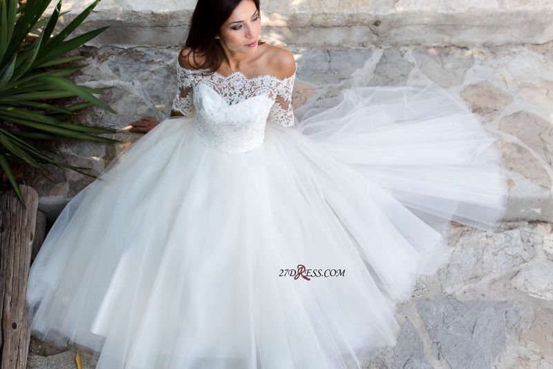 Floor-length Half-sleeves Off-the-shoulder Ball-Gown Simple Lace Wedding Dress