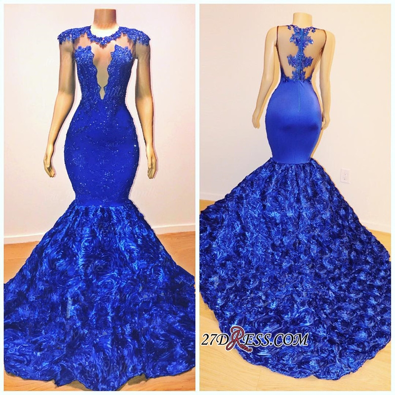 Glamorous Royal-Blue Mermaid Long Evening Gowns | 2020 Flowers Bottom Prom Dresses With lace Appliques BC1059