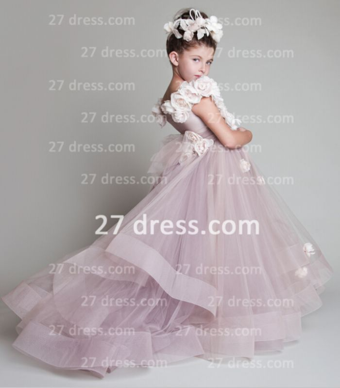 A-line Tulle Princess Flower Girl Dresses Pageant Gowns