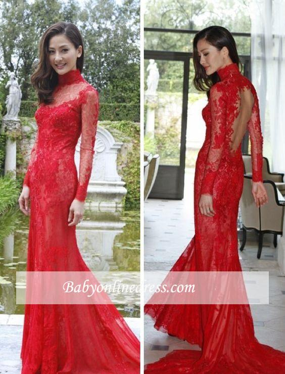 2020 High-Neck Long-Sleeve Mermaid Newest Lace Red Prom Dress