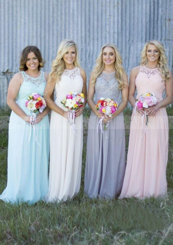 Cute Chiffon Lace Long Bridesmaid Dress | 2020 Illusion Bridesmaid Dress