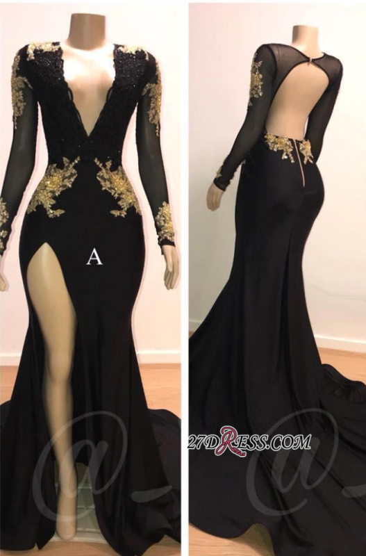 Sexy Black L Sleeve Prom Dresses | 2020 Gold Appliques Evening Gowns On Sale 1BC0583