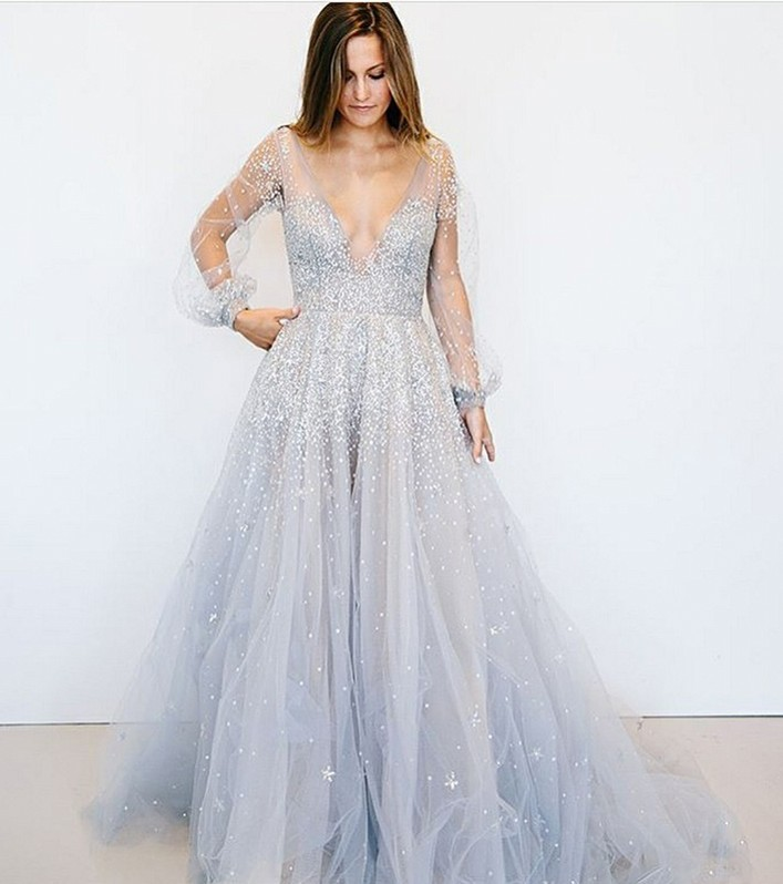 Beautiful V-Neck Illsuion Long Sleeve Evening Dress | Sequins Beads Prom Gowns On Sale