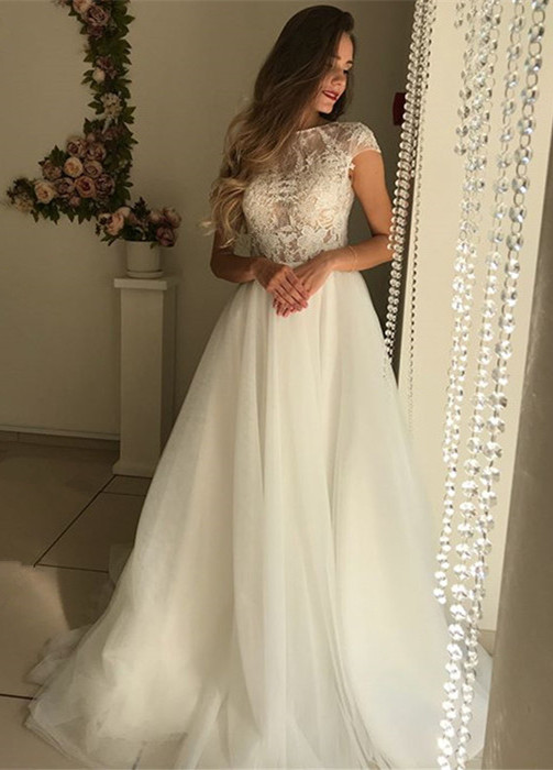 Elegant Short Sleeve Wedding Dresses | 2020 Lace Tulle Bridal Gowns