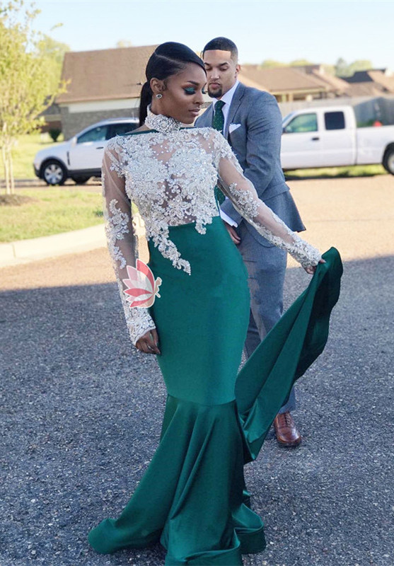 High-Neck Green Lace Prom Dress | 2020 Mermaid Long-Sleeve Evening Gowns