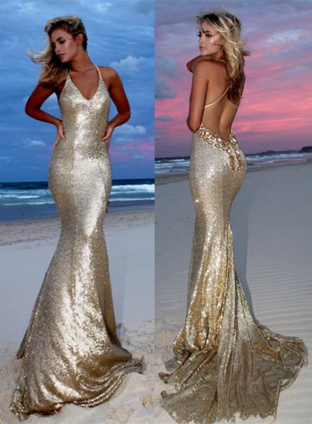 Sexy Gold V-Neck Sequins Prom Dresses   2020 Mermaid Backless Evening Gowns
