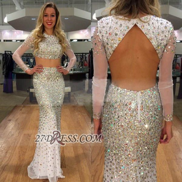 Sexy Jewel Long Sleeve Prom Dress With Beadings Crystals