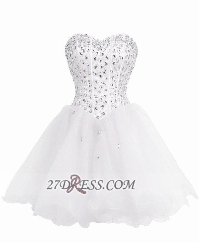 Luxurious Sweetheart Sleeveless Cocktail Dress Lace-up Crystals Short White Homecoming Gown BA8930