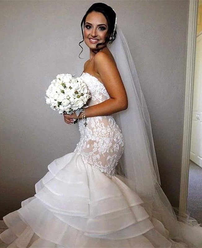 Stunning Sweetheart Mermaid Lace 2020 Wedding Dress Ruffles Layered