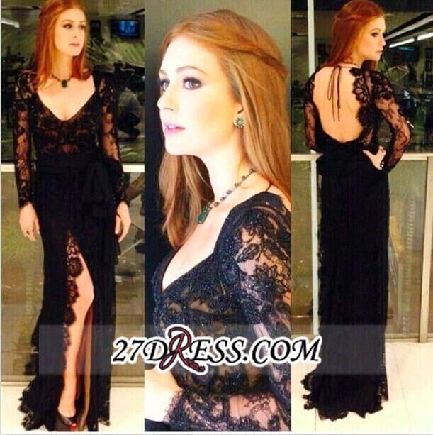 Long-Sleeves Sexy Side-Slit Black Open Back Lace Evening Gowns