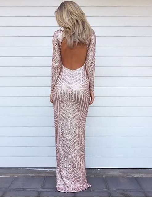 Stunning Long Sleeve Sequins Prom Dresses 2020 Open Back Hi-Lo Evening Gowns HT106