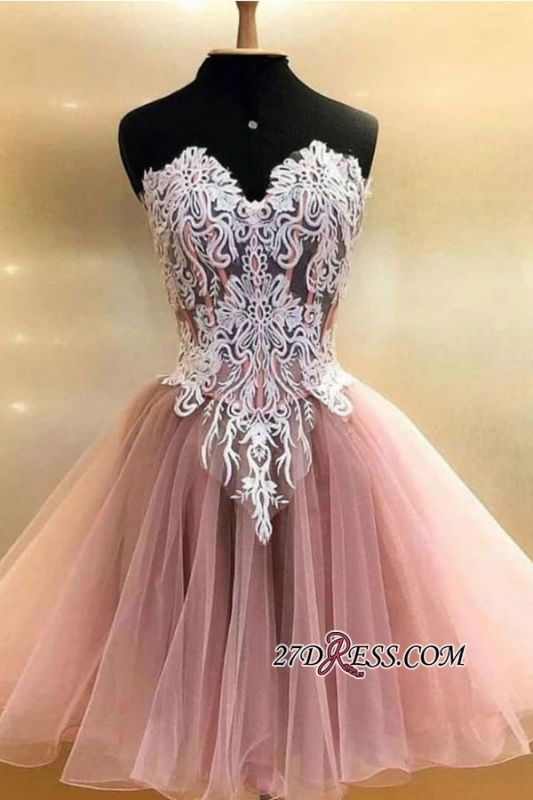 Applique Sweetheart Strapless Short A-line Homecoming Dresses